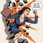 45686253 - business success businesswoman breaks the wall. retro style pop art